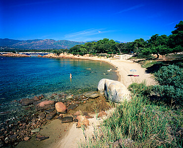 Beach view, Cala Rossa, South East Corsica, Corsica, France, Mediterranean, Europe