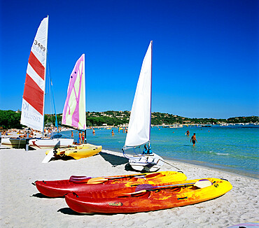 Watersports on beach, Plage de Santa Giulia, southeast coast, Corsica, France, Mediterranean, Europe