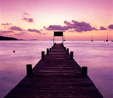 Pier at dawn, Plage de Santa Giulia, South East Corsica, Corsica, France, Mediterranean, Europe