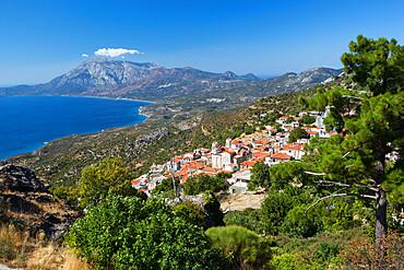 View to Mount Kerketeas and south west coast, Spatharaioi, Samos, Aegean Islands, Greece