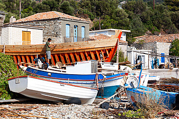 Traditional boat building yard, Aghios Isidhoros, Samos, Aegean Islands, Greece