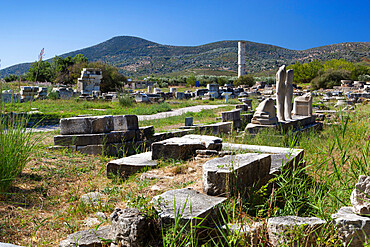 Ireon archaeological site with columns of the Temple of Hera, Ireon, Samos, Aegean Islands, Greece