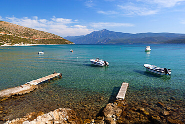 Boats in bay, Psili Ammos, Samos, Aegean Islands, Greece