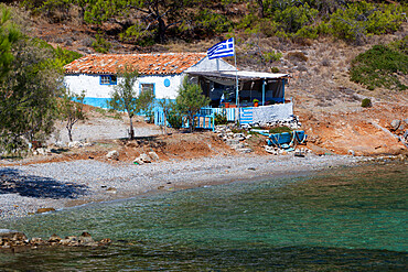 Typical Greek cottage, Sidheras Beach, near Posidonio, Samos, Aegean Islands, Greece