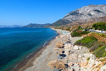 Beach and Mount Kerketeas, Kambos, Samos, Aegean Islands, Greece