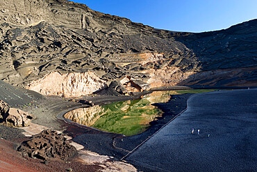 Lagoon and lava cliffs, El Golfo, Lanzarote, Canary Islands, Spain