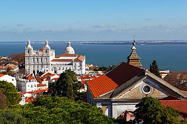 View from Castelo de Sao Jorge to Sao Vicente de Fora church, Lisbon, Portugal, Europe