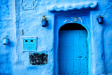 Traditional doorway in Chefchaouen, Morocco, North Africa, Africa