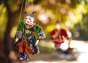 Traditional puppets hanging from tree, Bagan (Pagan), Mandalay Region, Myanmar (Burma), Asia