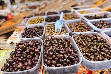 Olives at Market, Kotor, Bay of Kotor, Montenegro, Europe