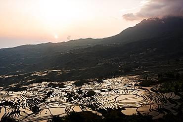 Duoyishu Rice Terraces at dawn, UNESCO World Heritage Site, Yuanyang, Yunnan Province, China, Asia