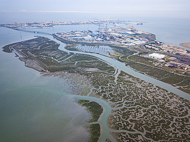 Aerial view, by drone, of San Fernando marshes, Bahia de Cadiz, Cadiz, Andalucia, Spain, Europe