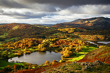 View on autumn dawn from Loughrigg Fell, Lake District National Park, UNESCO World Heritage Site, Cumbria, England, United Kingdom, Europe