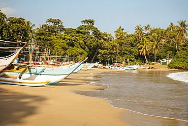 Fishing boats on Devinuwara Beach, Dondra, South Coast, Sri Lanka, Asia