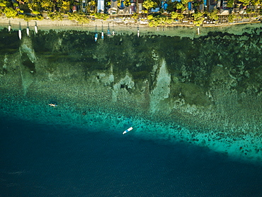 Aerial view of sea, Gili Air, Gili Islands, Lombok Region, Indonesia, Southeast Asia, Asia