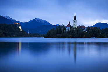 Bled Island with the Church of the Assumption at dusk, Lake Bled, Upper Carniola, Slovenia, Europe