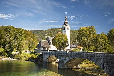 San Giovanni Church, Lake Bohinj, Triglav National Park, Upper Carniola, Slovenia, Europe