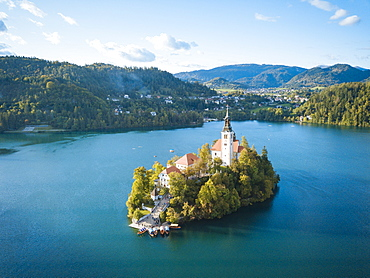 Aerial view by drone of Bled Island with the Church of the Assumption at dawn, Lake Bled, Upper Carniola, Slovenia, Europe