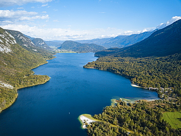 Aerial view by drone of Lake Bohinj, Triglav National Park, Upper Carniola, Slovenia, Europe