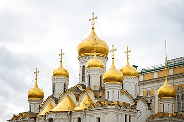 Steeples of Annunciation Cathedral, The Kremlin, UNESCO World Heritage Site, Moscow, Moscow Oblast, Russia, Europe