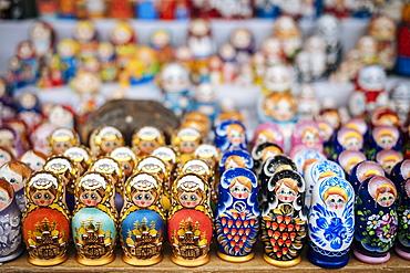 Matryoshka dolls for sale in Izmaylovsky Bazaar, Moscow, Moscow Oblast, Russia, Europe