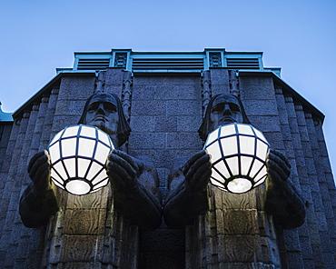 Exterior facade of Helsinki Central Station, Helsinki, Finland, Europe