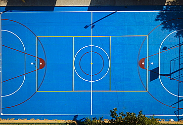 Aerial view by drone of Basketball Court, Cartagena, Bolivar Department, Colombia, South America