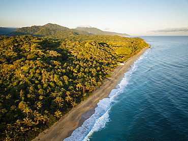 Aerial view by drone of Playa los Angeles, Magdalena Department, Caribbean, Colombia, South America