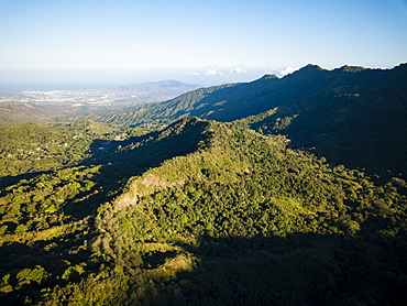 Aerial view by drone of landscape near Minca, Magdalena Department, Caribbean, Colombia, South America