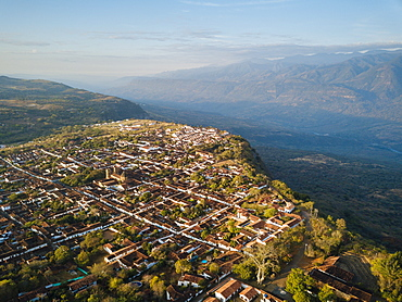 Aerial view by drone of Barichara, Santander, Colombia, South America
