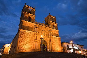 Cathedral of Barichara at night, Barichara, Santander, Colombia, South America
