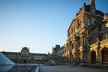 Louvre Museum at dawn, Paris, Ile-de-France, France, Europe