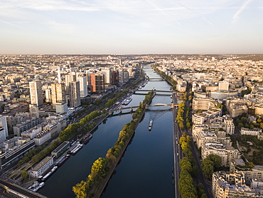 River Seine at dawn, Paris, Ile-de-France, France, Europe