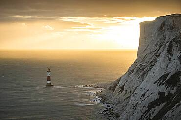 Beachy Head Lighthouse at sunset, East Sussex, England, United Kingdom, Europe