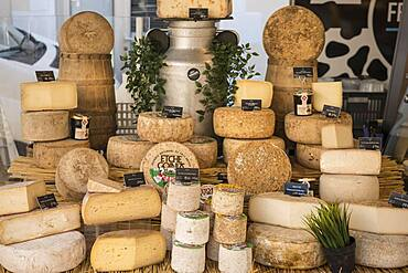 Cheese on display at local market, Les Landes, France, Europe