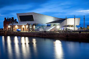 Albert Dock and Museum of Liverpool at night, Liverpool, Merseyside, England, United Kingdom, Europe