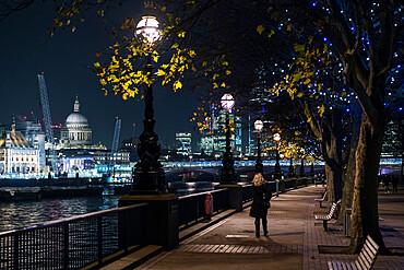 South Bank at night, London, England, UK