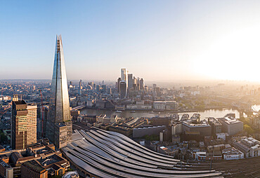 Aerial View of Shard and City, London, England, United Kingdom