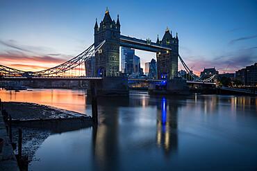 Tower Bridge at Sunset, London, England, UK
