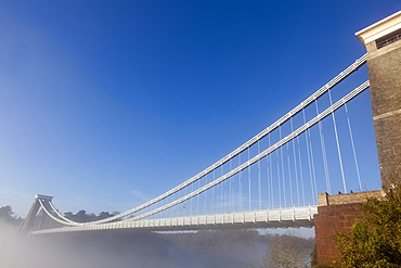 Clifton Suspension Bridge on a misty morning, Bristol, England, United Kingdom, Europe