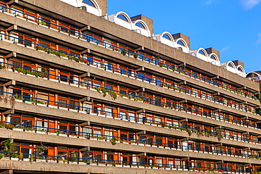 Barbican Apartments, modernist architecture and high rise residential living in London, England, United Kingdom, Europe