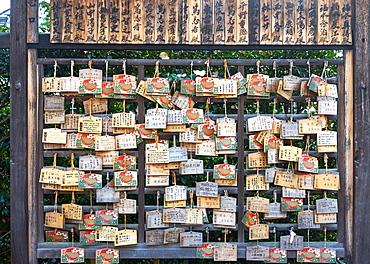Votives (Ema prayer tablets) at Zenkyoan temple, Kyoto, Japan, Asia