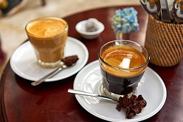 Cups of Indonesian coffee in Ubud, Bali, Indonesia, Southeast Asia, Asia