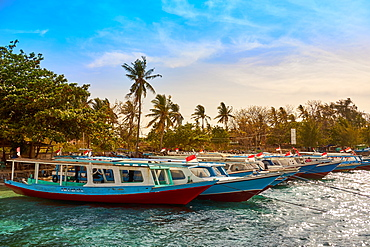 Boats moored in Gili Air's harbour, Indonesia, Southeast Asia, Asia