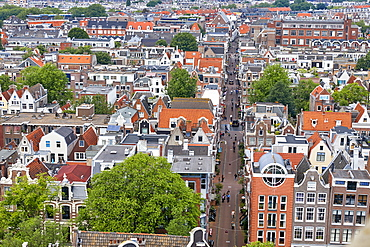 View from above of Leliedwarsstraatthe in the Jordaan, Amsterdam, North Holland, The Netherlands, Europe