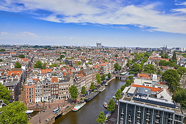 An aerial view of the Jordaan and Prinsengracht, Amsterdam, North Holland, The Netherlands, Europe