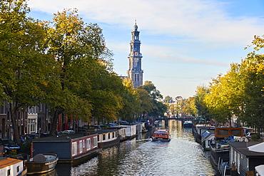 A view down Prinsengracht towards Westerkerk, Amsterdam, North Holland, The Netherlands, Europe