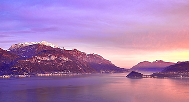 Bellagio and Varenna viewed from Menaggio on the western shore of Lake Como at sunset, Lombardy, Italian Lakes, Italy, Europe