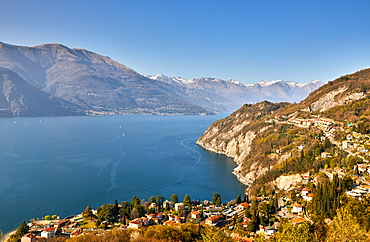 High angle view of Lake Como from Castle Vezio with Varenna and Gittana, Lombardy, Italian Lakes, Italy, Europe