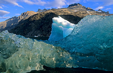 Different colours of ice. Prins Christian Sund, S-Greenland.